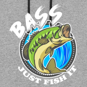 Just Fish It Bass Fishing Tee Shirt - Colorblock Hoodie