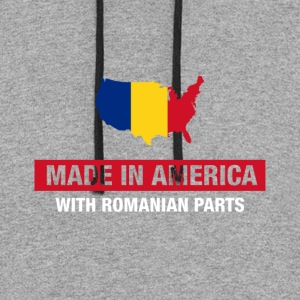 Made In America With Romanian Parts Romania Flag - Colorblock Hoodie