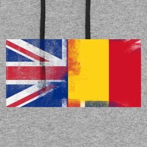 British Romanian Half Romania Half UK Flag - Colorblock Hoodie