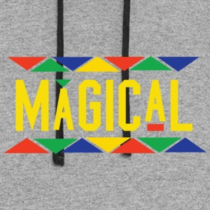 Magical Tribal Design (Yellow Letters) - Colorblock Hoodie
