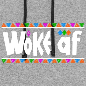 Woke af - Tribe Design (White Letters) - Colorblock Hoodie