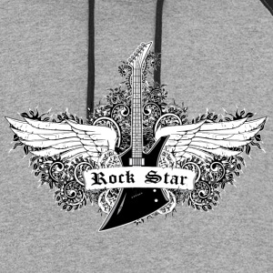 Rock Star - Guitar with wings - Colorblock Hoodie