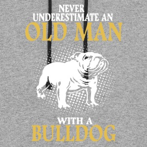 OLD MAN WITH BULLDOG SHIRT - Colorblock Hoodie