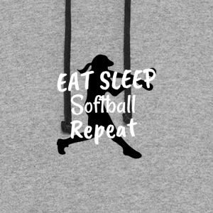 Cool Eat Sleep Softball Repeat Novelty Humor Shirt - Colorblock Hoodie