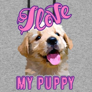 I Love My Puppy Shirts - Colorblock Hoodie