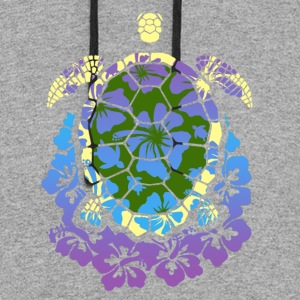 COLORED SEA TURTLE HIBISCUS SHIRT - Colorblock Hoodie