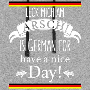Funny German Translations Leck mich am Arsch! - Colorblock Hoodie