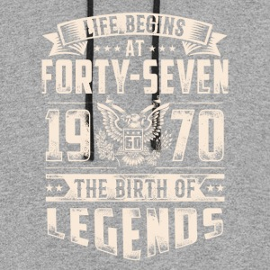 Life Begins At Forty Seven tshirt - Colorblock Hoodie