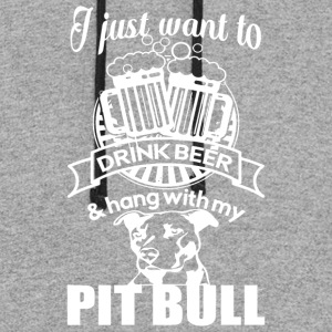 Drink Beer And Hang With My Pit Bull T Shirt - Colorblock Hoodie