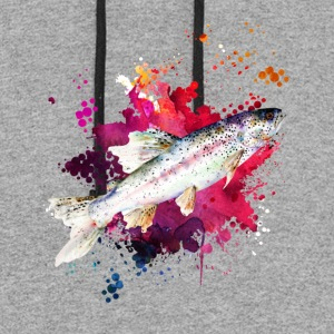 Salmon Watercolor Shirts - Colorblock Hoodie