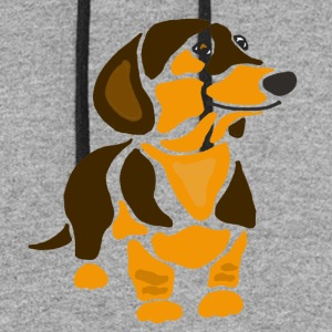 Cool Funny Funky Dachshund Dog Art - Colorblock Hoodie