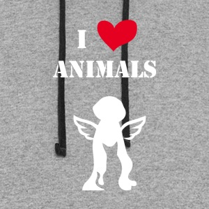 i love animals white - Colorblock Hoodie
