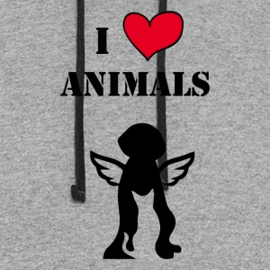 i love animals - Colorblock Hoodie