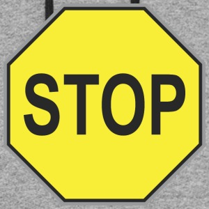 Road_sign_yellow_stop - Colorblock Hoodie