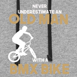 never undererstimate an old man with a bmx bike - Colorblock Hoodie