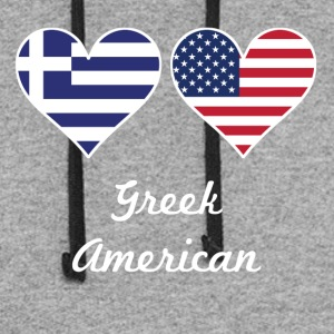 Greek American Flag Hearts - Colorblock Hoodie