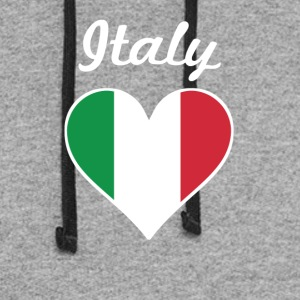 Italy Flag Heart - Colorblock Hoodie