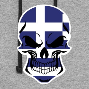 Greek Flag Skull - Colorblock Hoodie