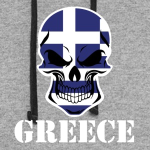 Greek Flag Skull Greece - Colorblock Hoodie