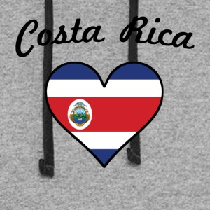 Costa Rica Flag Heart - Colorblock Hoodie