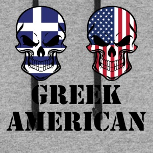 Greek American Flag Skulls - Colorblock Hoodie
