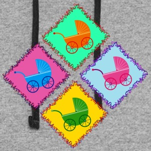 four strollers on stamps - Colorblock Hoodie