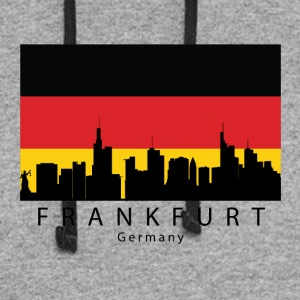 Frankfurt Germany Skyline German Flag - Colorblock Hoodie