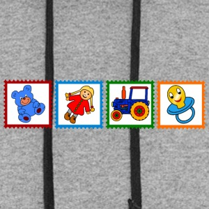 Four stamps with toys - Colorblock Hoodie