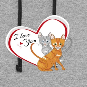 cat in love - Colorblock Hoodie