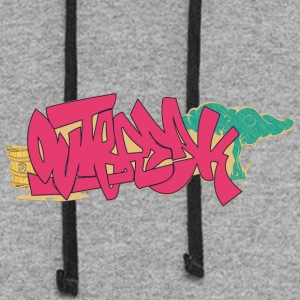 out_graffiti_red - Colorblock Hoodie