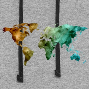 world map - Colorblock Hoodie