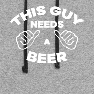 This Guy Needs A Beer Funny TShirt - Colorblock Hoodie