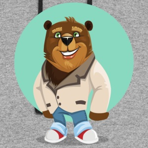 Friendly funny Bear smiling Boss - Colorblock Hoodie