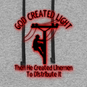 God Created Light - Funny Lineman Bible Design - Colorblock Hoodie