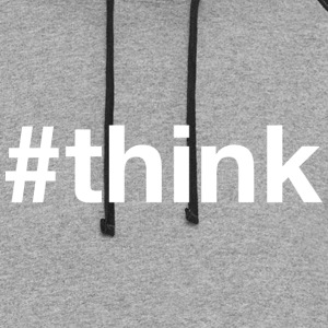 Think - Hashtag Design (White Letters) - Colorblock Hoodie