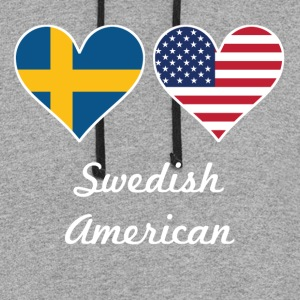 Swedish American Flag Hearts - Colorblock Hoodie