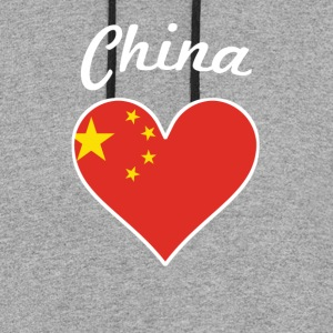 China Flag Heart - Colorblock Hoodie