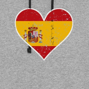Distressed Spanish Flag Heart - Colorblock Hoodie