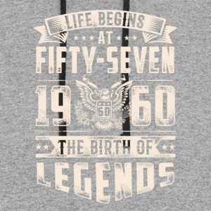 Life Begins At Fifty Seven Tshirt - Colorblock Hoodie