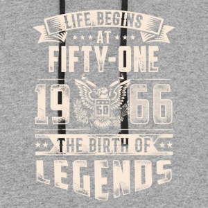 Life Begins At Fifty One Tshirt - Colorblock Hoodie