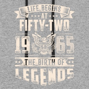 Life Begins At Fifty Two Tshirt - Colorblock Hoodie