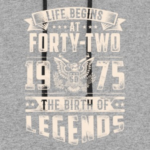 Life Begins At Forty Two Tshirt - Colorblock Hoodie
