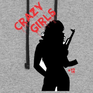 Crazy Girl Automatic Gun - Colorblock Hoodie