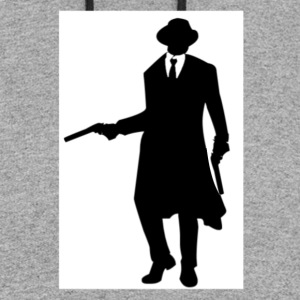 BLACK AND WHITE GANGSTER WITH GUN AND TUXEDO - Colorblock Hoodie