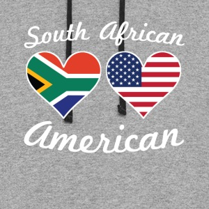 South African American Flag Hearts - Colorblock Hoodie