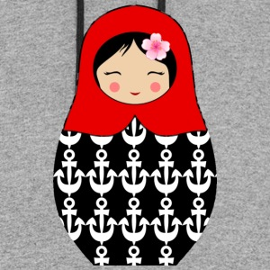 Red Matryoshka doll with anchors - Colorblock Hoodie