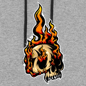 fired_up_skull - Colorblock Hoodie