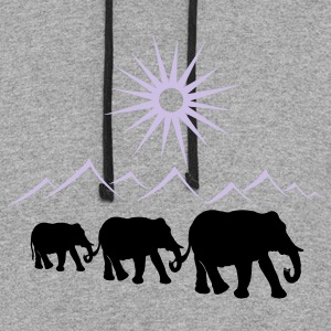 Elephants in the desert, vacation, travel. - Colorblock Hoodie