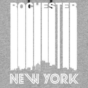 Retro Rochester New York Skyline - Colorblock Hoodie
