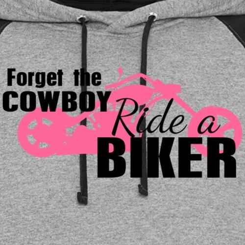Forget the Cowboy Ride a Biker - Unisex Colorblock Hoodie